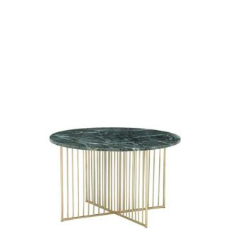 An Image of Lalit Coffee Table Green Marble With Brass Leg