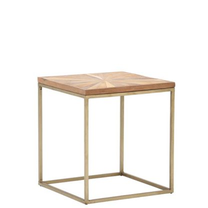 An Image of Jupiter Side Table Wood Top With Antique Brass Leg
