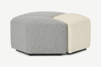 An Image of Zazie Modular 3-Part Pouffe, Tonal Boucle Mix