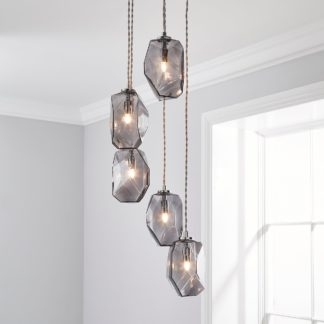 An Image of Ebba Faceted Glass Cluster Ceiling Fitting Grey