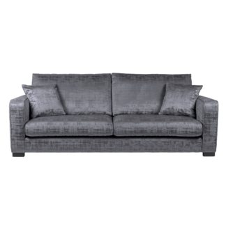 An Image of Carson Distressed Velvet 4 Seater Sofa Grey