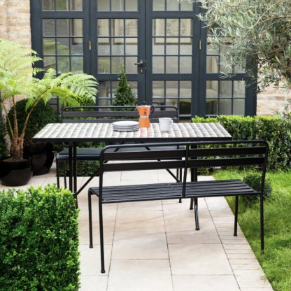 An Image of Habitat Becklen 6 Seat Table & Chair Set With Benches