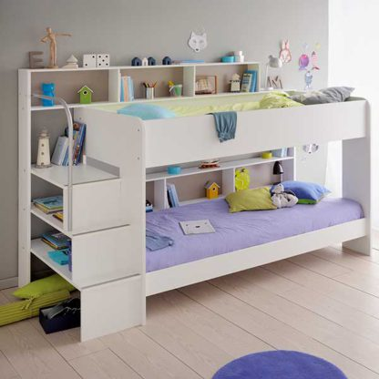 An Image of Annora Children's Bunk Bed In Solid Wood With Painted White Finish