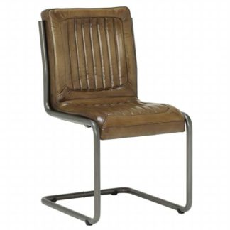 An Image of Jensen Buffalo Leather Dining Chair OIive