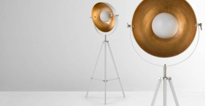 An Image of Chicago Tripod Floor Lamp, Muted Grey and Brass