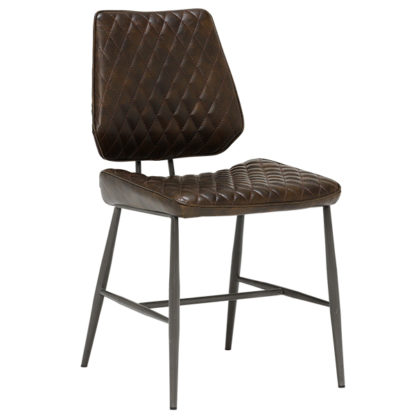 An Image of Hawley Quilted Dining Chair Dark Brown