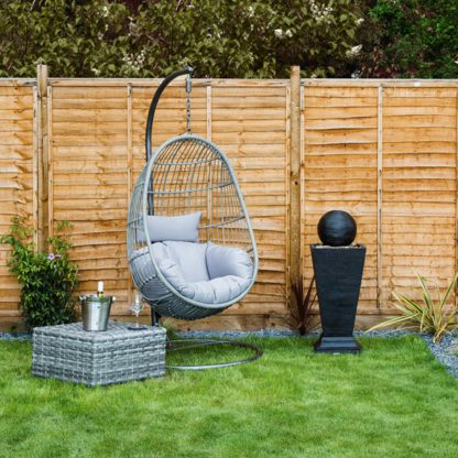 An Image of Rattan Egg Shaped Swing Chair Grey
