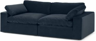 An Image of Samona 3 Seater Sofa, Dark Blue Velvet