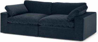 An Image of Samona 3 Seater Sofa, Dark Blue Velvet