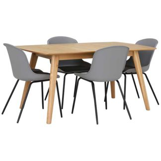 An Image of Lund Extending Dining Table and 4 Grey Leon Chairs