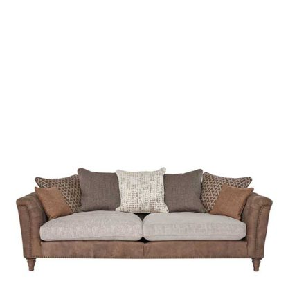 An Image of Darwin Large Pillow Back Sofa Leather and Fabric Mix