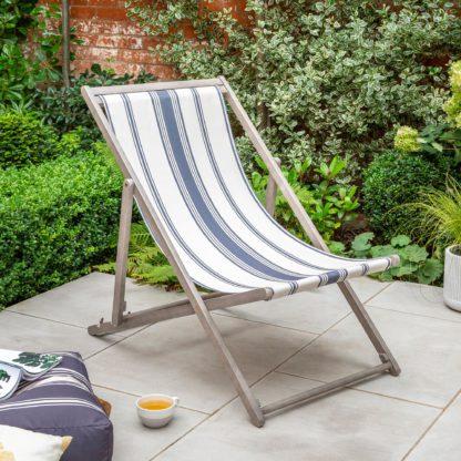 An Image of Elements Wooden Striped Deckchair Light Grey