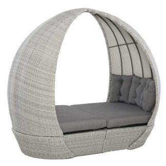 An Image of Didcot Garden Daybed in Grey Weave and Grey Fabric