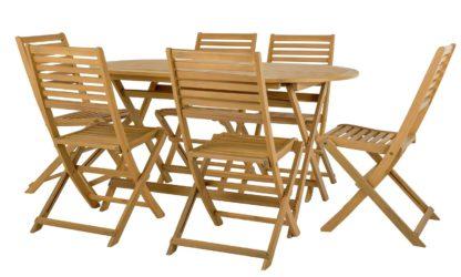 An Image of Argos Home Newbury 6 Seater Wooden Patio Set - Light Wood