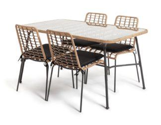 An Image of Habitat 4 Seater Bamboo Patio Set