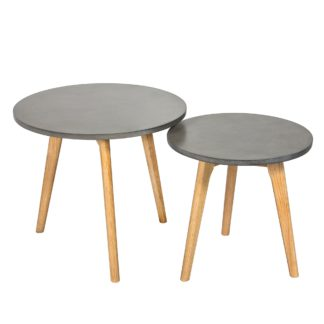 An Image of Hex Concrete Effect Nest of Tables Grey