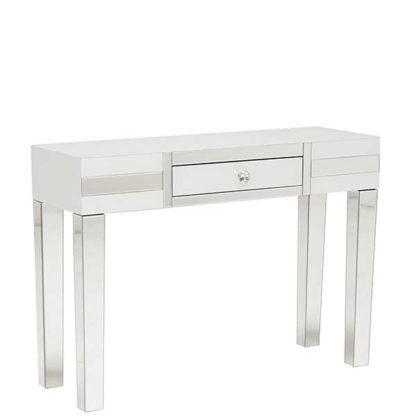An Image of Krystal 1 Drawer Dressing Table White Glass and Mirror