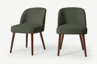 An Image of Swinton Set of 2 Dining Chairs, Sage Corduroy Velvet with Walnut Legs
