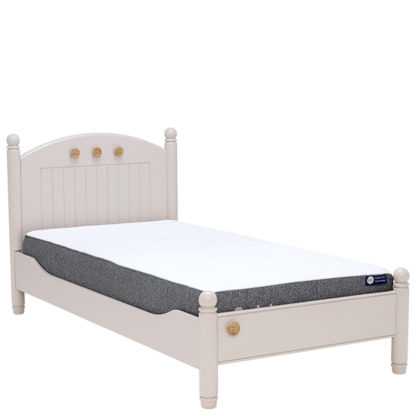 An Image of Children's Buttons Single Bed - Rubberwood With a Stone Painted Finish