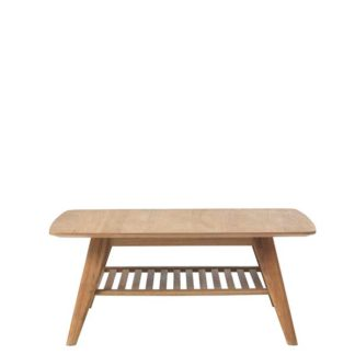 An Image of Lund Coffee Table with Shelf Natural Oak