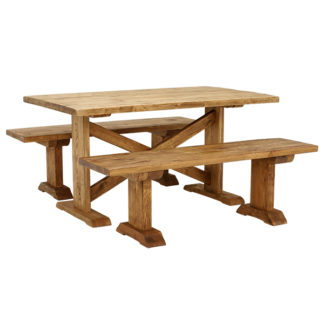 An Image of Newsham Dining Table and 2 Benches