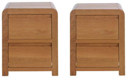 An Image of Habitat Novara 2 Bedside Tables Set - Oak & Oak Veneer