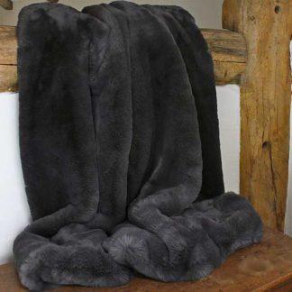 An Image of Faux Fur Throw Dark Grey