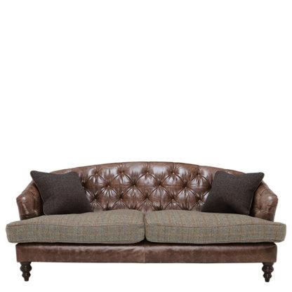 An Image of Harris Tweed Leather Dalmore Midi Sofa Bracken Herringbone