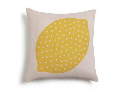 An Image of Habitat Lemon Patterned Cushion - Yellow