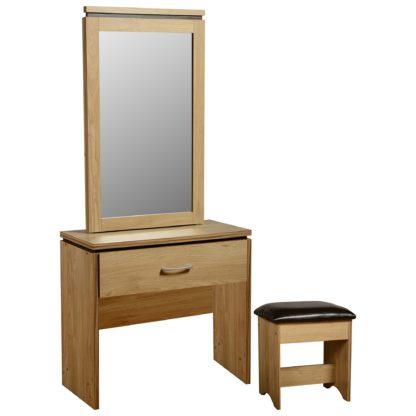 An Image of Charles Oak 1 Drawer Dressing Table Set Brown