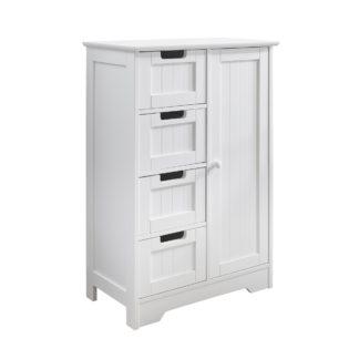 An Image of White 4 Drawer Storage Cabinet White
