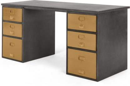 An Image of Stow Storage Desk, Vintage Brass