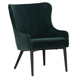 An Image of Rivington Velvet Lounge Chair Dark Green