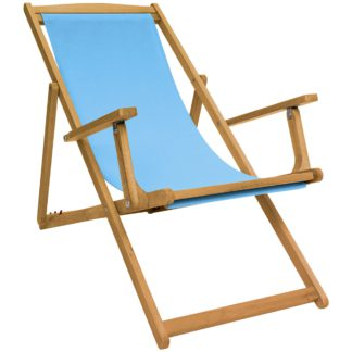 An Image of Teal Wooden Deck Chair Teal
