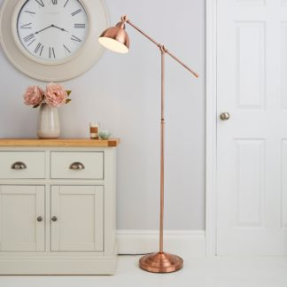 An Image of Lever Arm Copper Floor Lamp Gold