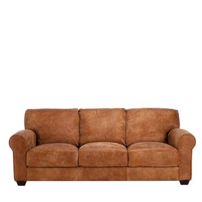 An Image of New Houston Leather 3 Seater Sofa