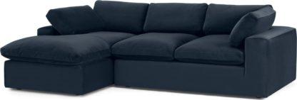 An Image of Samona Left Hand Facing Chaise End Sofa, Dark Blue Velvet
