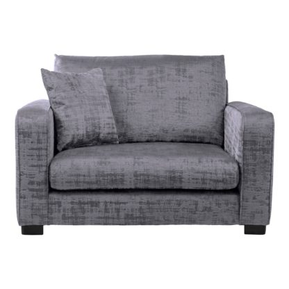 An Image of Carson Distressed Velvet Snuggle Chair Grey