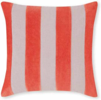 An Image of Bowker Stripe Velvet Cushion, 50 x 50cm, Vermillion Red & Cloud Grey