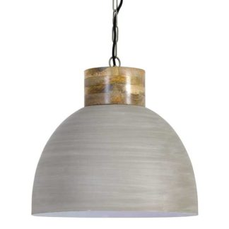 An Image of Dome Pendant Grey and Wood