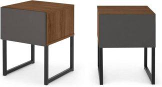 An Image of Hopkins Set of 2 Bedside Tables, Grey & Walnut