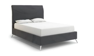 An Image of MiBed Seattle Velvet Double Bed Frame - Grey