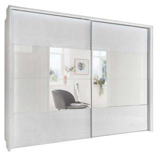 An Image of Riga 2 Door Sliding Wardrobe White Glass and Mirror