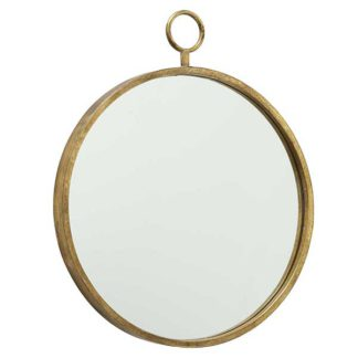 An Image of Hanging Gold Round Mirror
