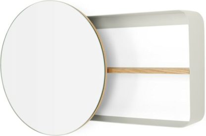An Image of Joris Metal & Wood Round Mirror and Shelf Unit, Off White