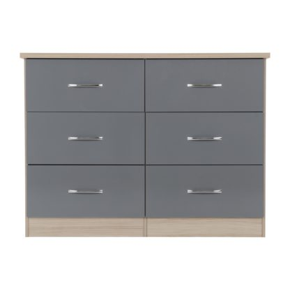 An Image of Nevada Grey 6 Drawer Chest Grey