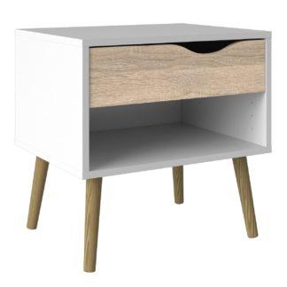 An Image of Viken 1 Drawer Bedside Unit - White and Oak