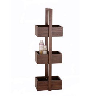 An Image of Wireworks Mezza Bathroom Storage Stand Dark Oak 3 Tier