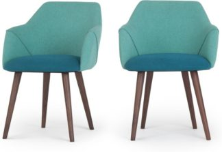 An Image of Set of 2 Lule High Back Carver Dining Chairs, Mineral Blue and Emerald Green