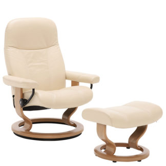 An Image of Stressless Consul Classic Chair Stool Batick